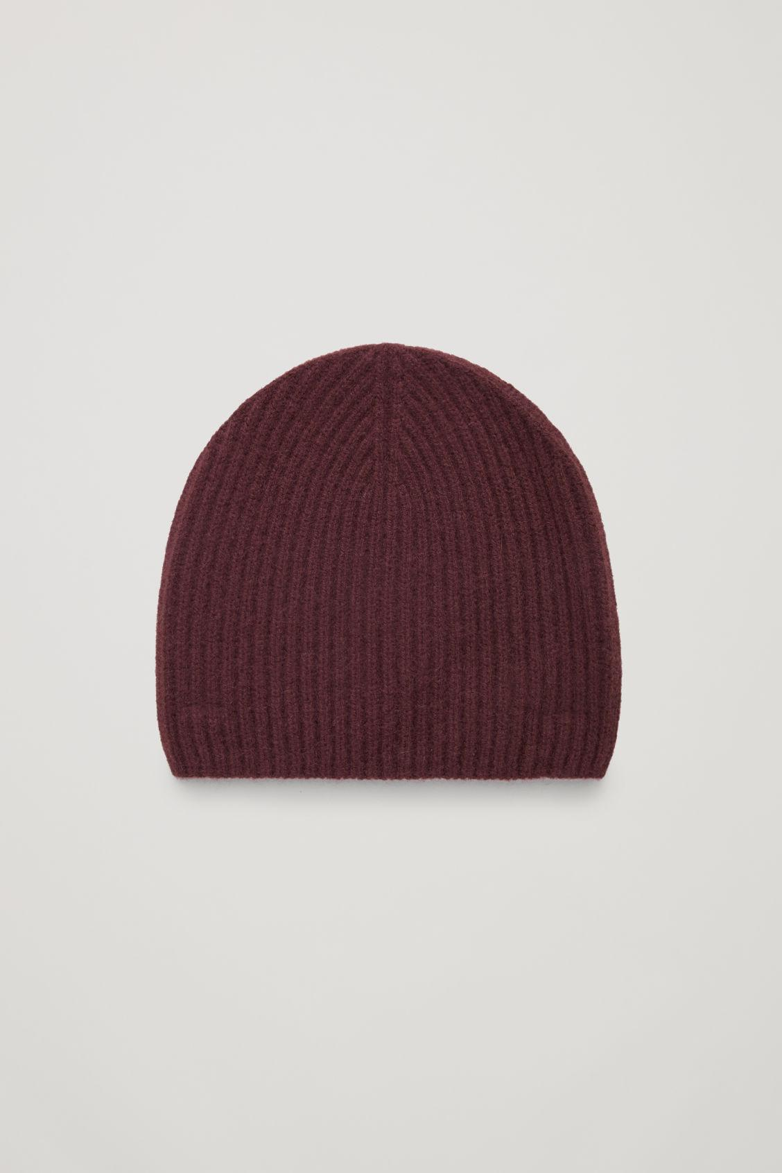 Cos Ribbed Cashmere Hat In Red