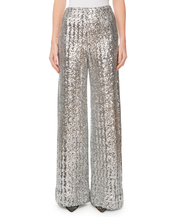 Roland Mouret Fabian Sequined Wide-Leg Pants In Silver