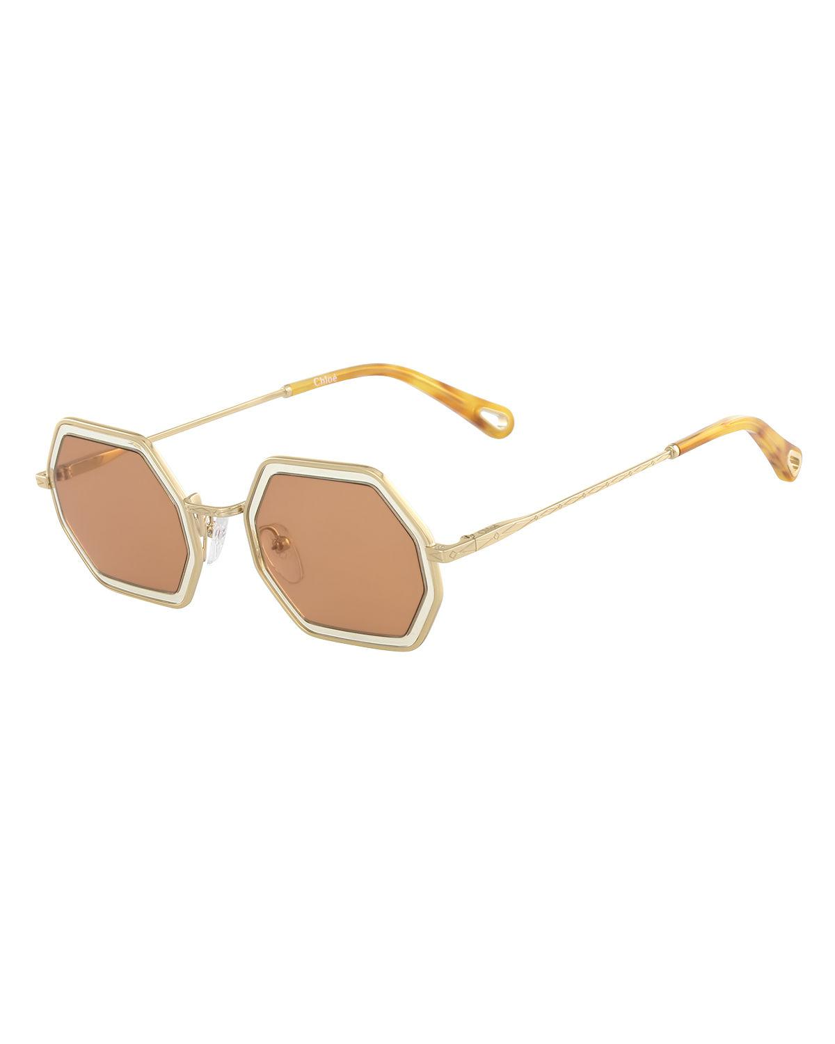 966c3c2961f ChloÉ Tally Hexagonal Metal Sunglasses In Gold Sand Orange