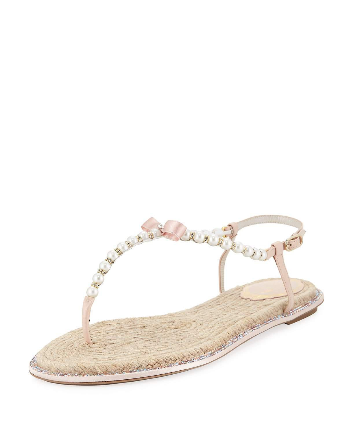 481c225262f35 RenÉ Caovilla Pearly Flat Thong Sandals In Nude