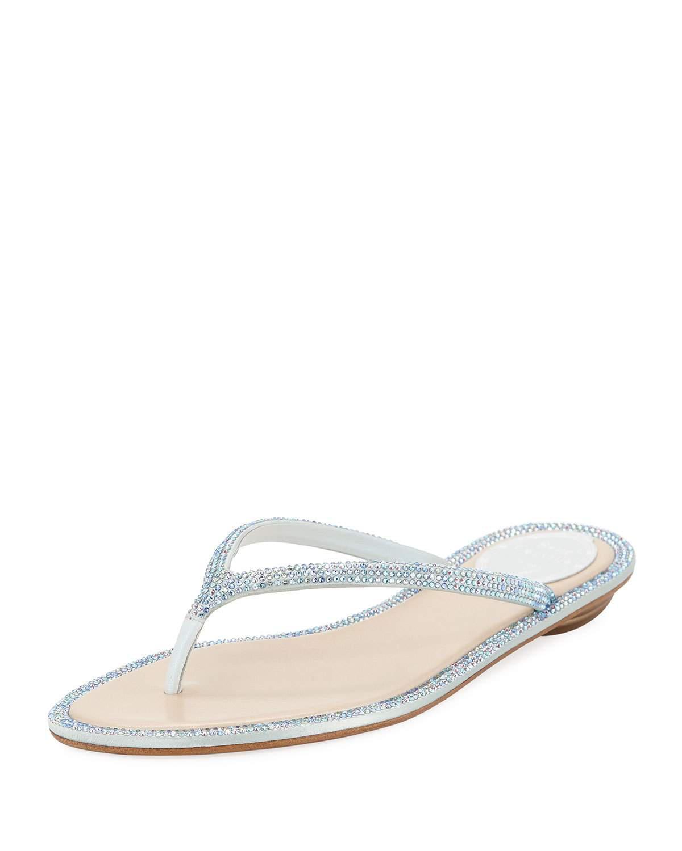 b783cccc9 RenÉ Caovilla Flat Crystal Thong Sandals In Blue