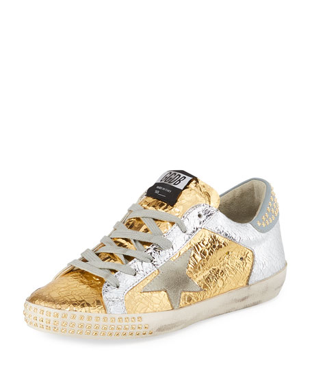 Golden Goose Superstar Studded Metallic Leather Low-Top Sneakers In Gold