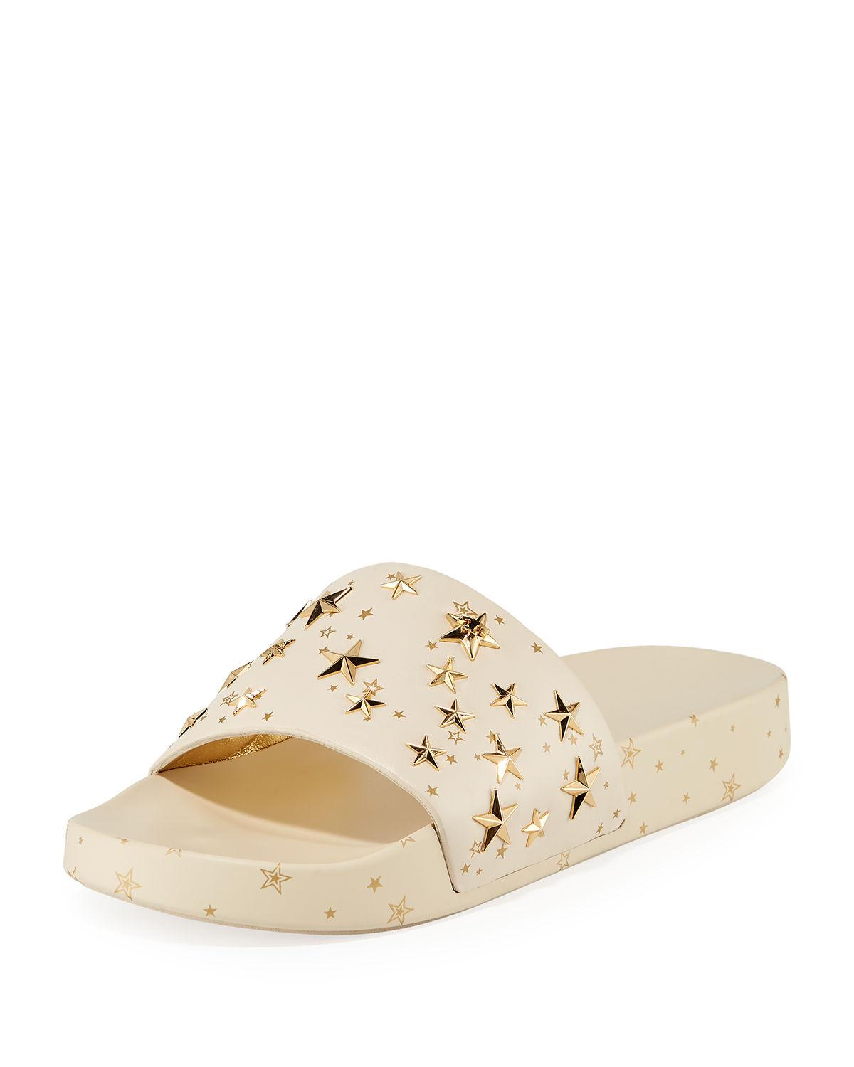 4192d6862865 Tory Burch Star Studded Leather Platform Slides In New Cream  Gold ...
