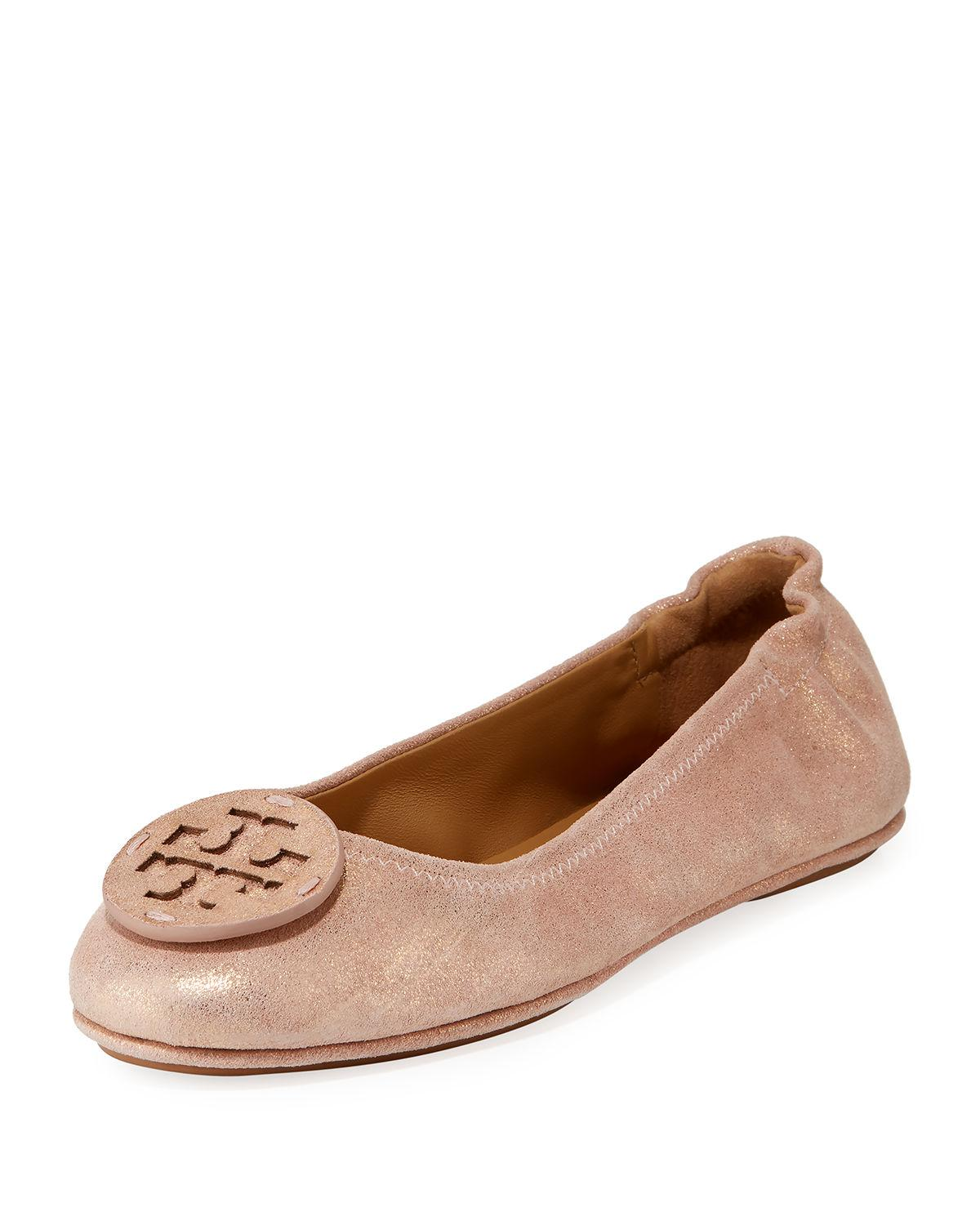 dd7312be8a484b Tory Burch Minnie Travel Ballet Flats With Logo In Metallic Sea Shell Pink