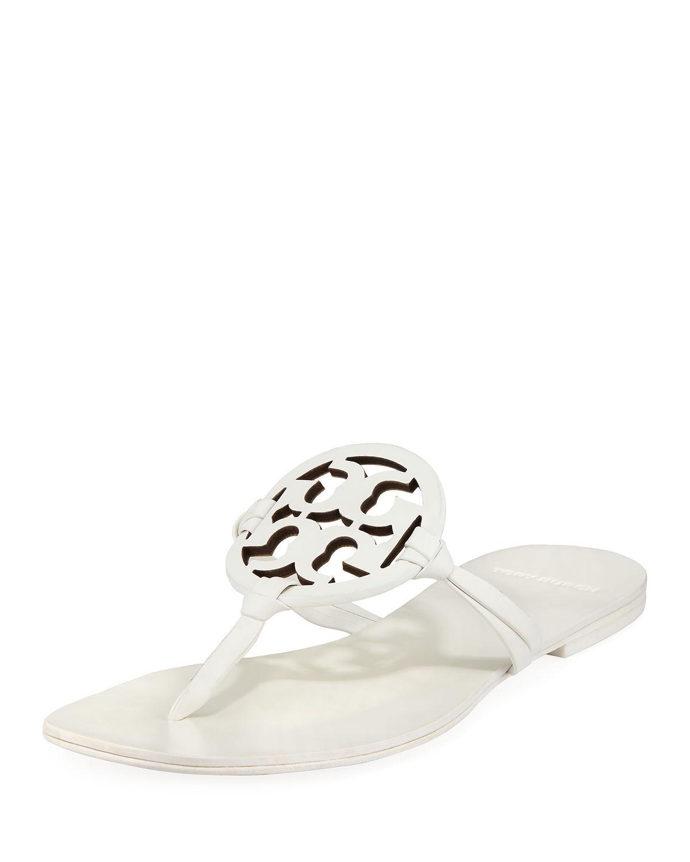 01da79490d8 Tory Burch Miller Square-Toe Flat Slide Sandals In White