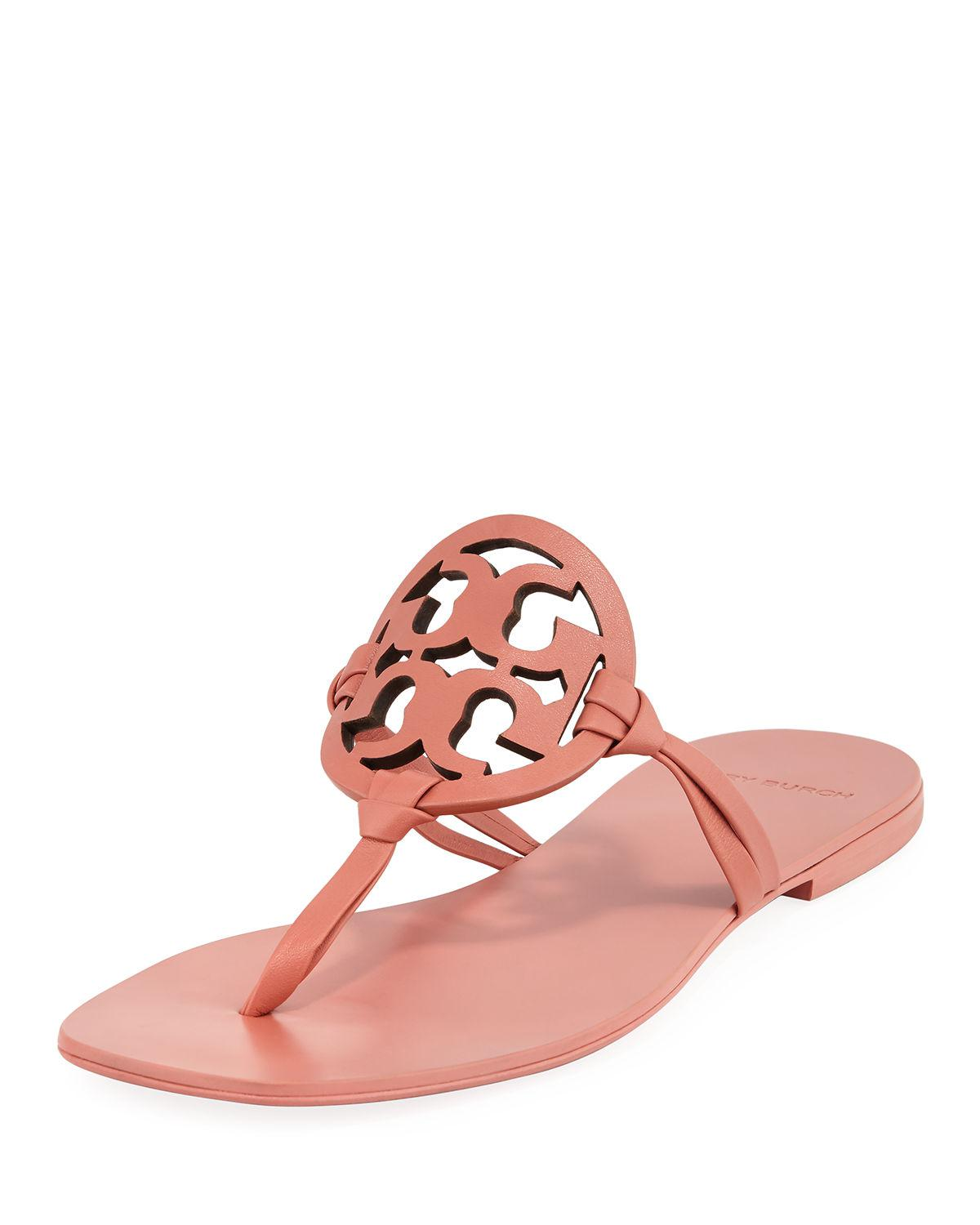 0a28031f4a4 Tory Burch Miller Square-Toe Flat Slide Sandals In Tramonto