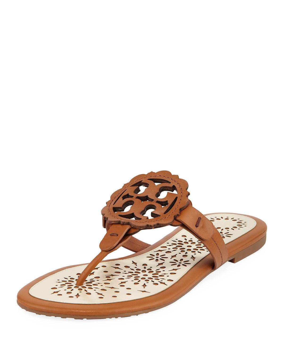 ce5444c8c Tory Burch Women s Miller Scallop Leather Thong Sandals In Tan  New ...