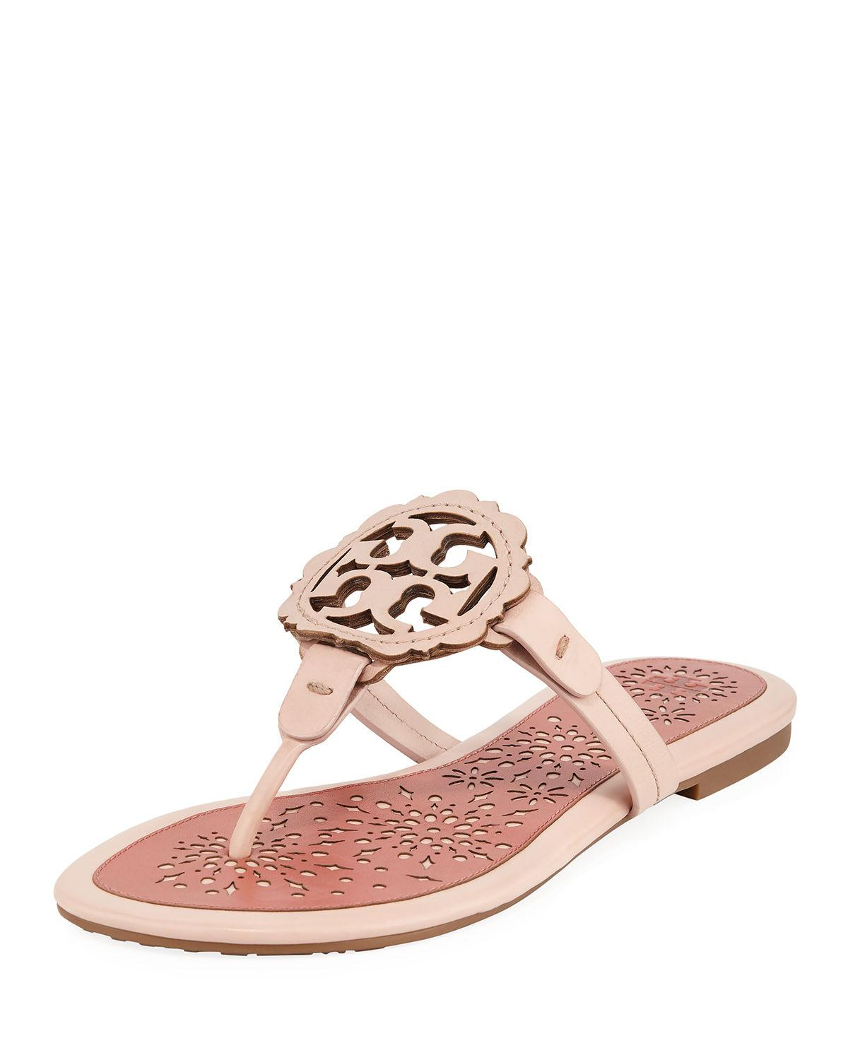 b32ef1d2bbda Tory Burch Women s Miller Scallop Leather Thong Sandals In Sea Shell Pink   Tramonto