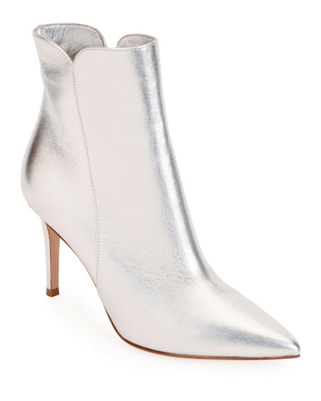 Gianvito Rossi 85Mm Metallic Leather Booties In Silver