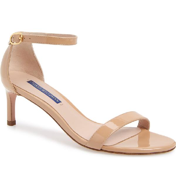 Stuart Weitzman Nunaked Straight Patent Leather Sandals In Adobe Patent