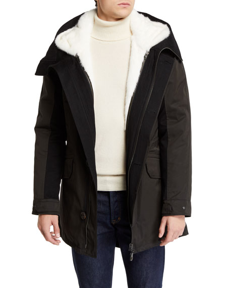 96c4c8ef0e1d4 Yves Salomon Men's Nylon Long Parka With Mink Lining In Black/White