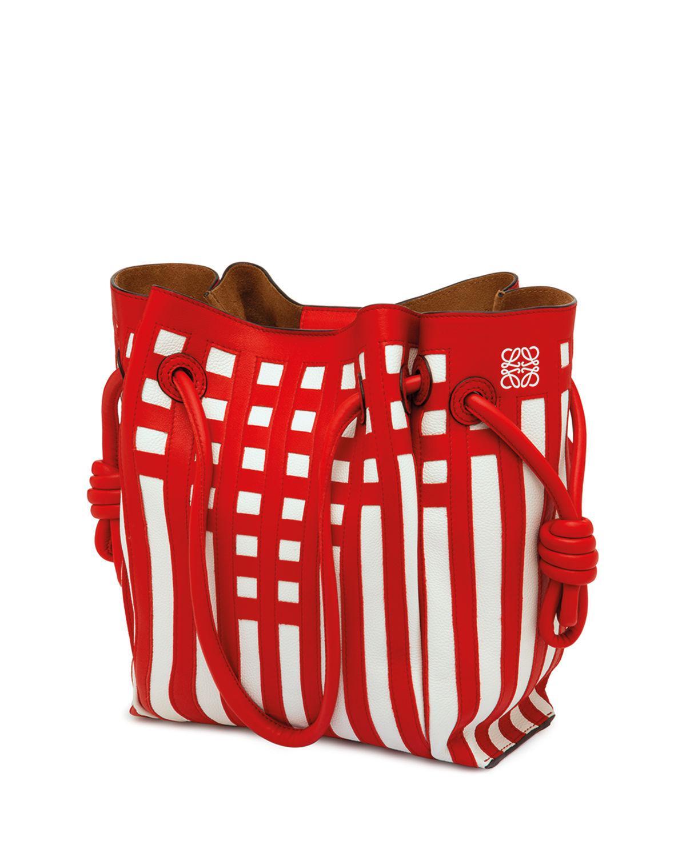 f3e41616e84e Loewe Flamenco Knot Grid Tote Bag In Red White