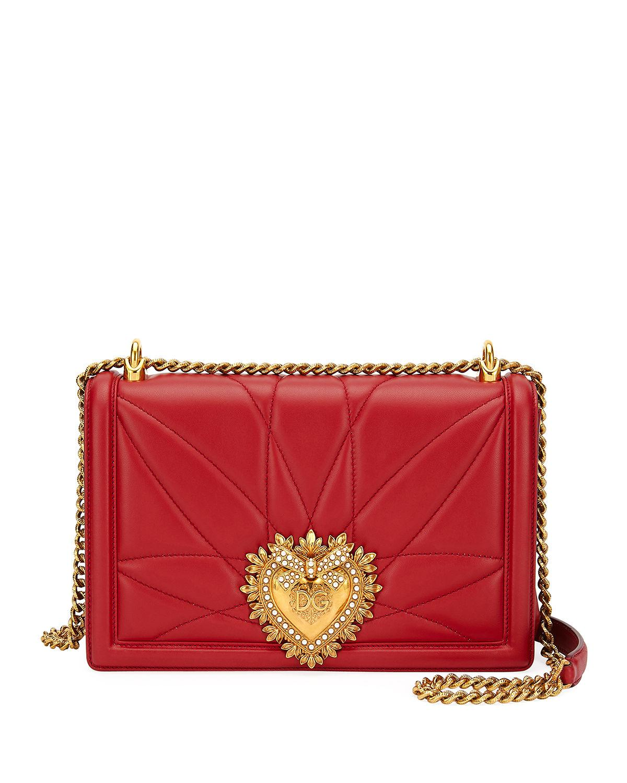 c2e7c4e50370 Dolce   Gabbana Medium Devotion Leather Shoulder Bag - Red