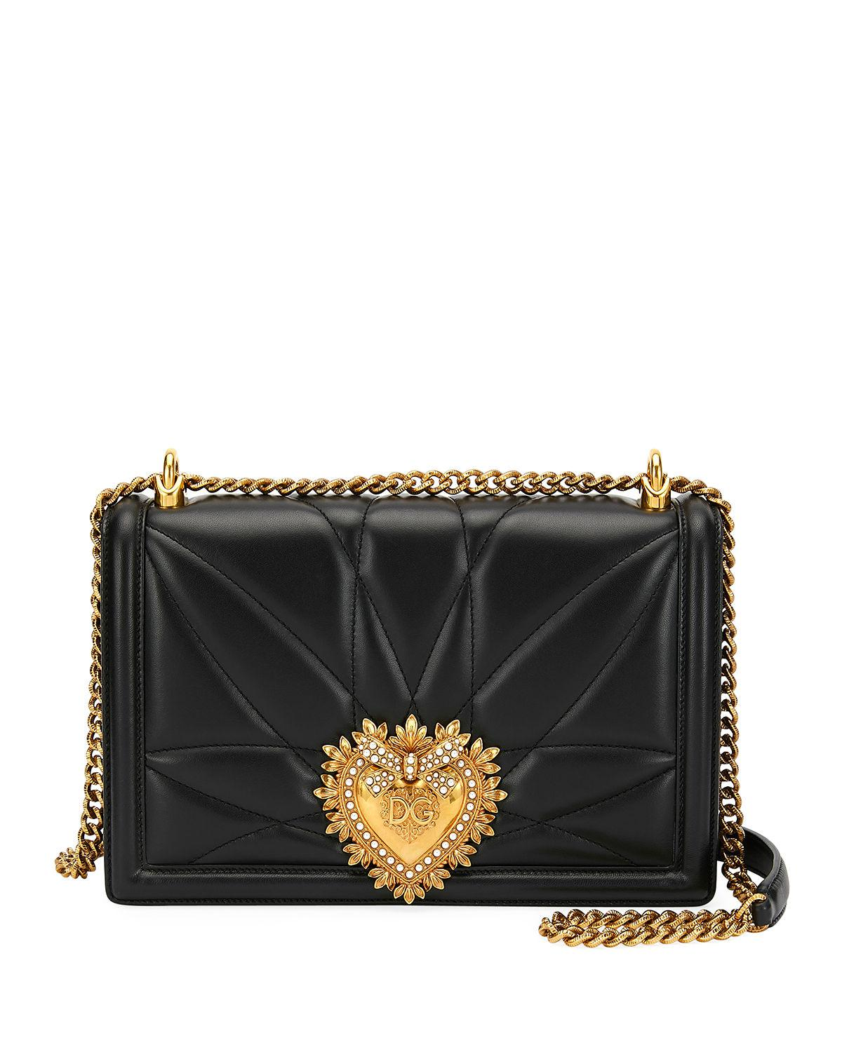 a7ecbdb4ea Dolce   Gabbana Devotion Large Quilted Crossbody Bag In Black