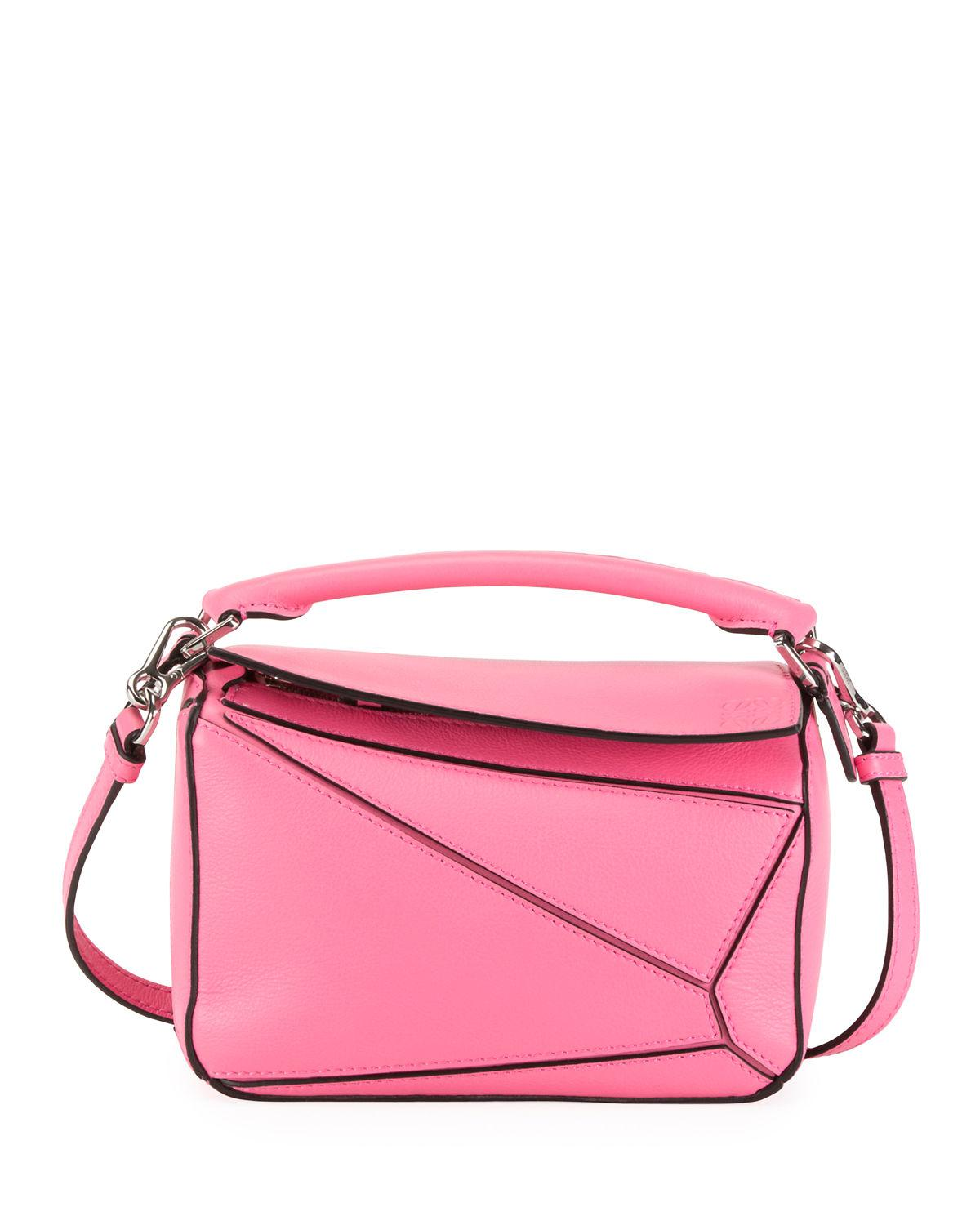 a98869189a46 Loewe Mini Puzzle Calfskin Leather Bag - Pink In Wild Rose