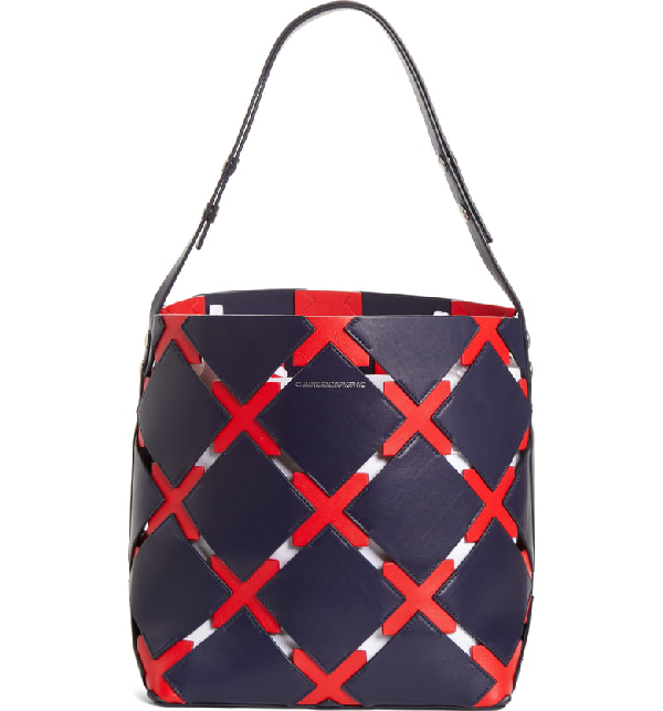 Patchwork Quilt Leather Bucket Bag Blue In Navy Red