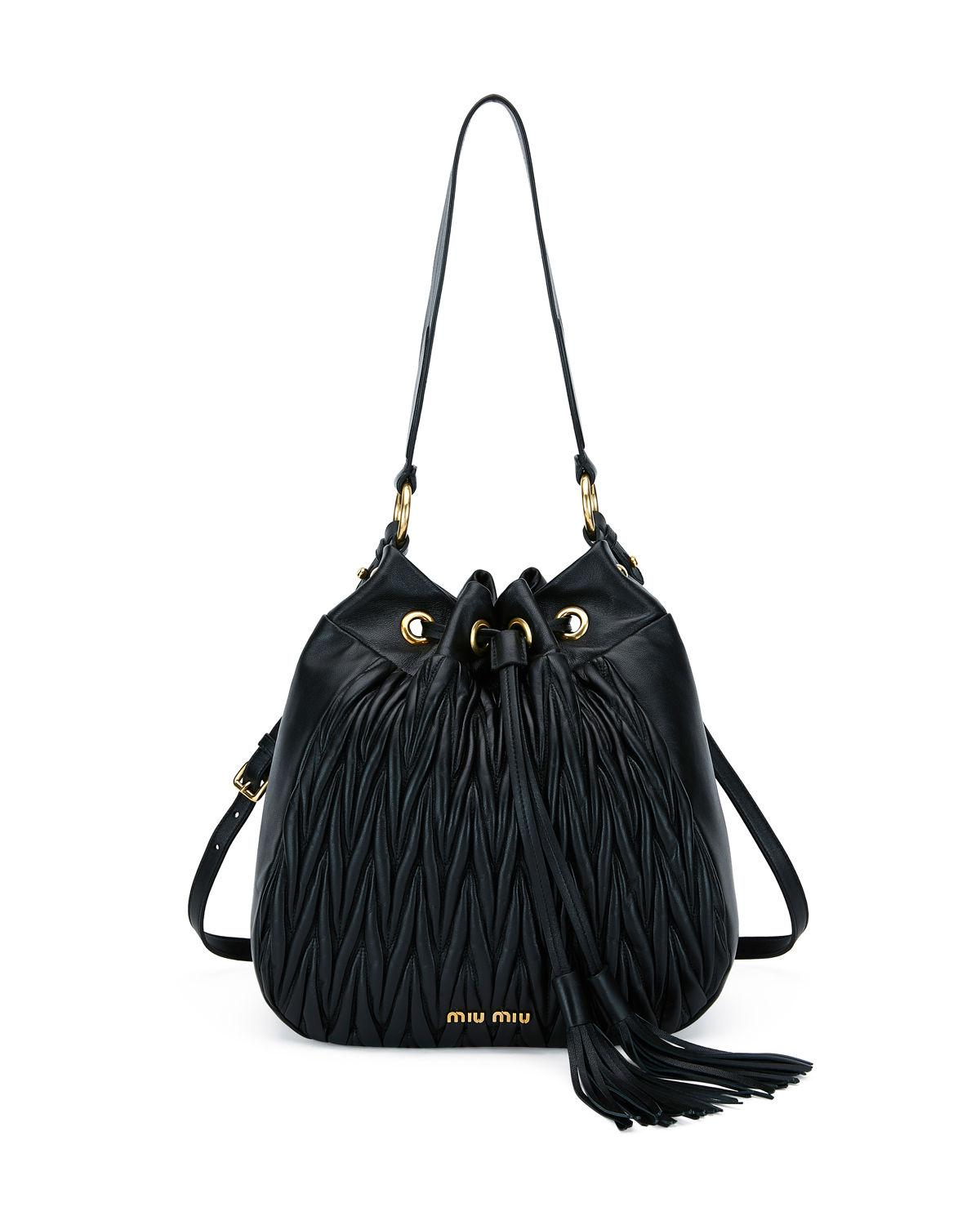27848e814f4 Miu Miu MatelassÉ Leather Shoulder Bag In Black
