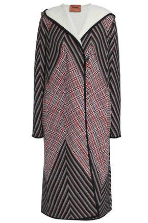 Missoni Woman Checked Crochet-Knit Wool-Blend Hooded Coat Red