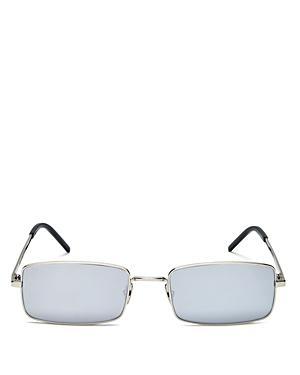 Saint Laurent 56Mm Rectangle Sunglasses - Silver/ Silver