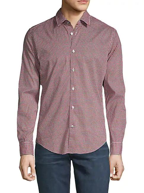 Hugo Boss Long-sleeve Printed Button-down Shirt In Red