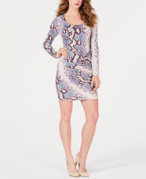 5f40f55732b Guess Cierra Floral-Print Bodycon Dress In Python Fever Print Aerial Blue
