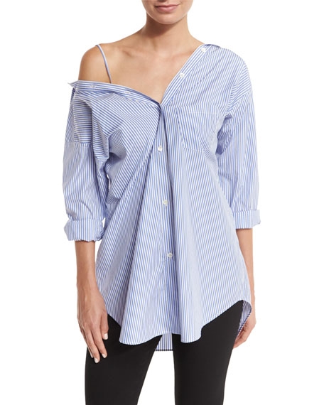 466f4faf58 Theory Tamalee Off-The-Shoulder Striped Cotton-Poplin Shirt In Blue/White