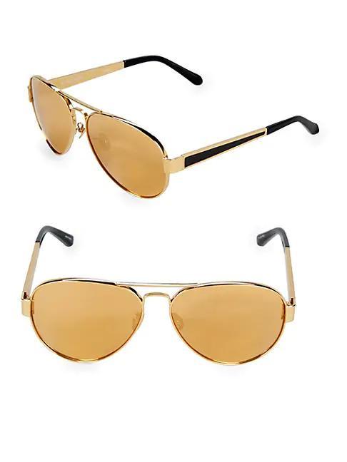 Linda Farrow Luxe 62mm Aviator Sunglasses In Gold