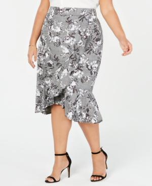 45994b06a Rachel Rachel Roy Trendy Plus Size Asymmetrical Ruffled Skirt In Grey Combo