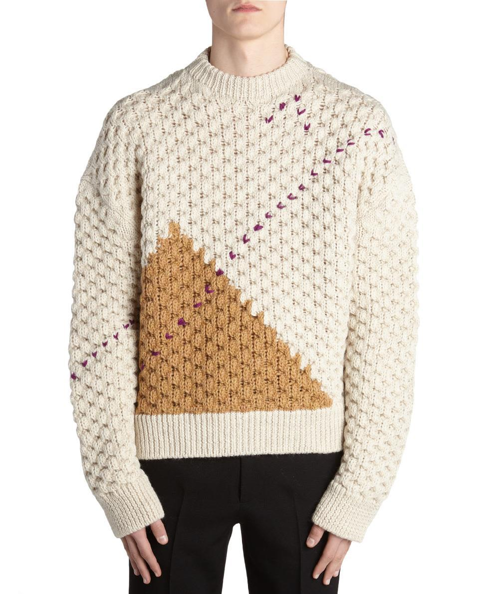 62e98e1adfb89c Raf Simons Opening Ceremony Elastic Strap Roundneck Sweater In Off White  Camel