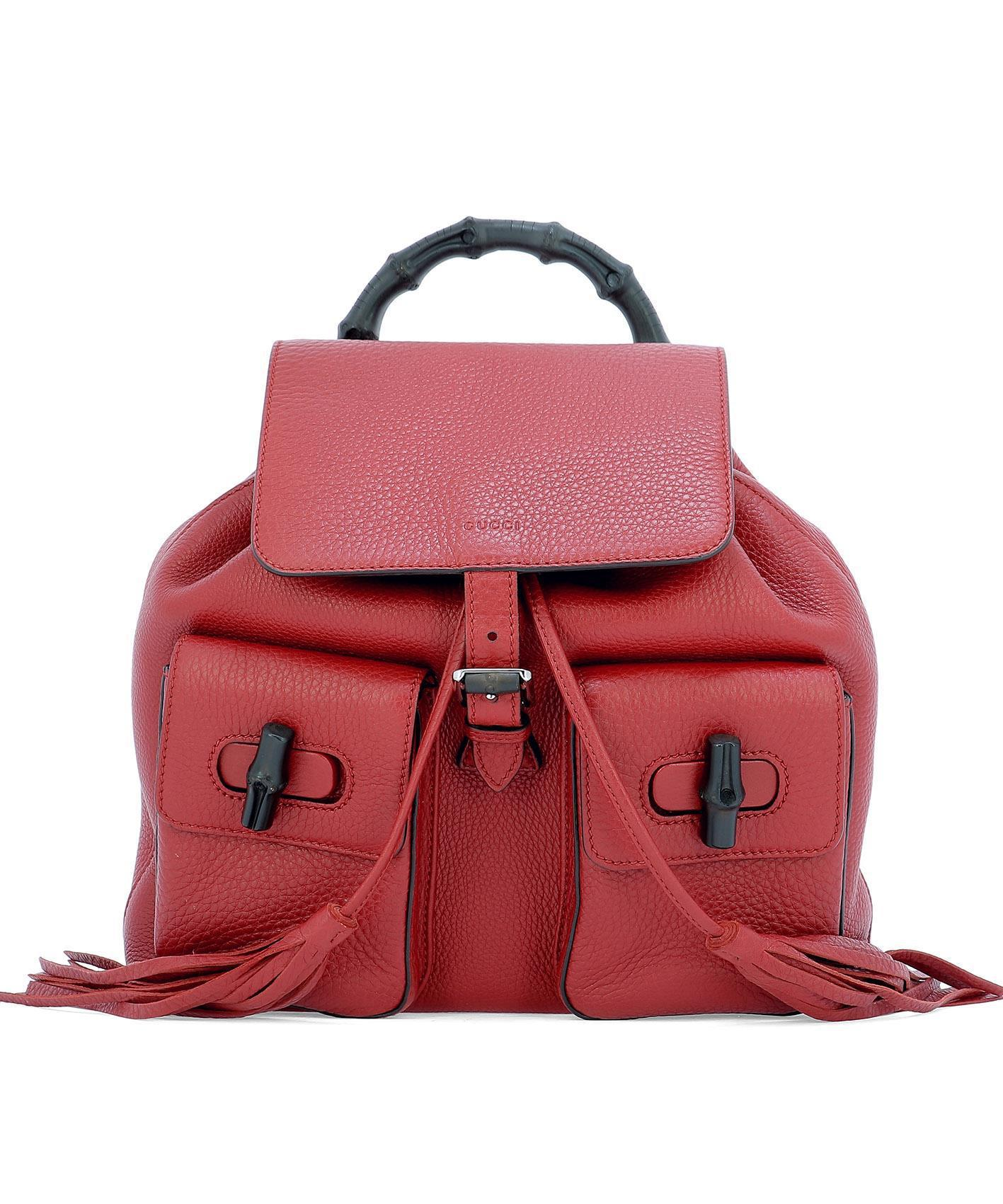 2bd8023140d16d Gucci Vintage Bamboo Backpack In Red | ModeSens