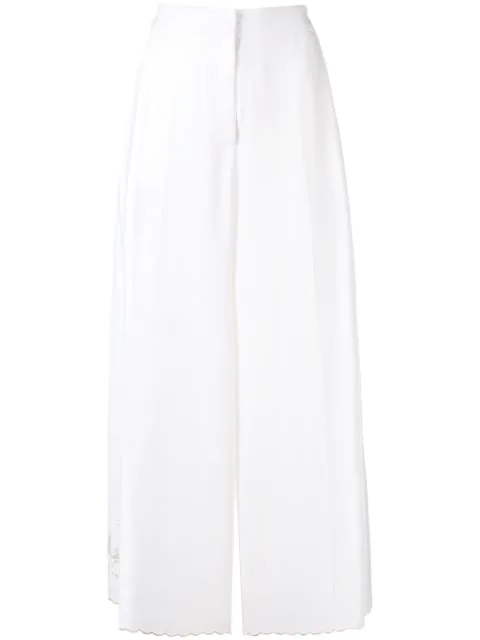 Stella Mccartney Cropped Wide Leg Trousers In White