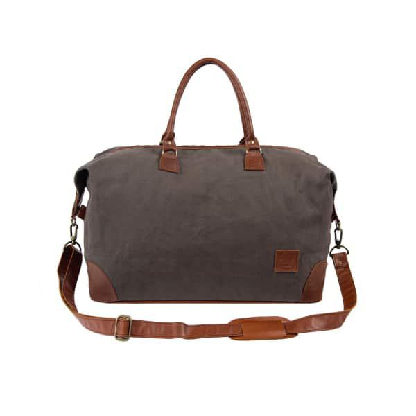 Mahi Leather Classic Travel Bag In Grey Canvas & Brown Leather
