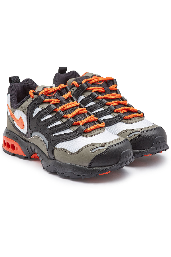 98a90fc1bcc6 Nike Air Terra Humara  18 Faux Leather And Mesh Sneakers In Grey ...