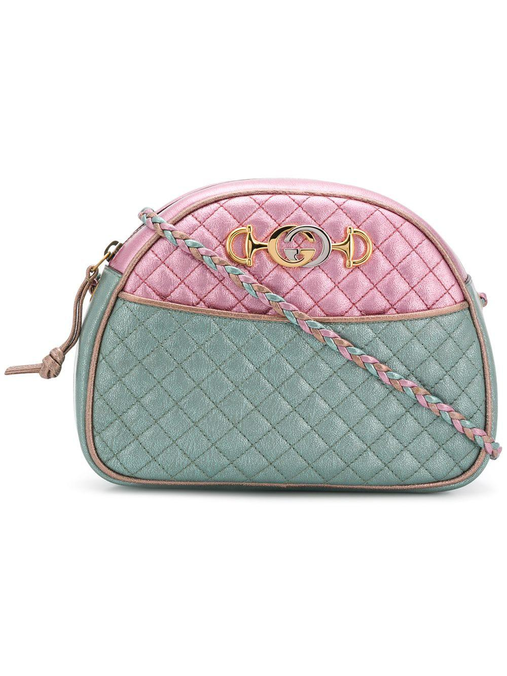 7a7bac6dd Gucci Trapuntata Mini Quilted Metallic Leather Crossbody Bag In Pink ...