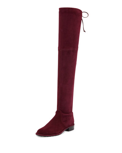 Stuart Weitzman Lowland Stretch-Suede Over-The-Knee Boot, Bordeaux