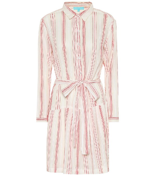 Melissa Odabash Amelia Striped Cotton Shirt Dress In Red
