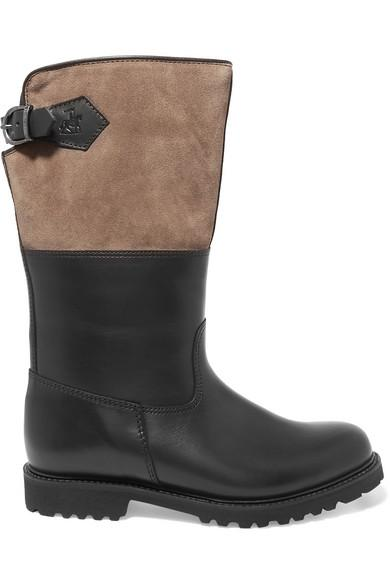 Ludwig Reiter Maronibraterin Leather And Suede Knee Boots In Black