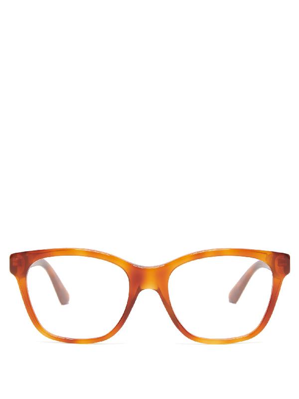 Gucci Crystal-embellished Acetate Glasses In Tortoiseshell