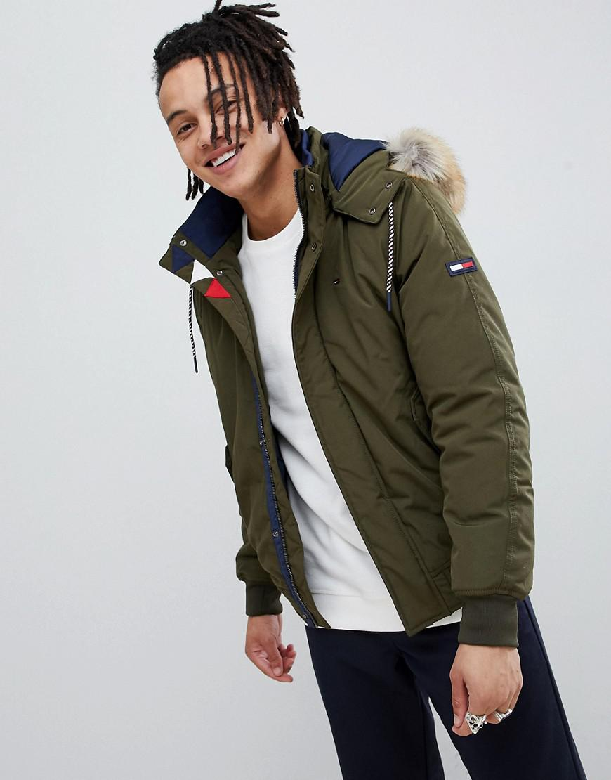 Tommy Jeans Technical Quilted Bomber Jacket Faux Fur Trim ...