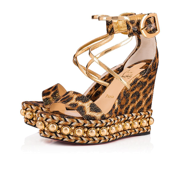 e294cddbee8 Chocazeppa Leopard Wedge Red Sole Espadrille Sandals, Leopard in Version  Black-Gold