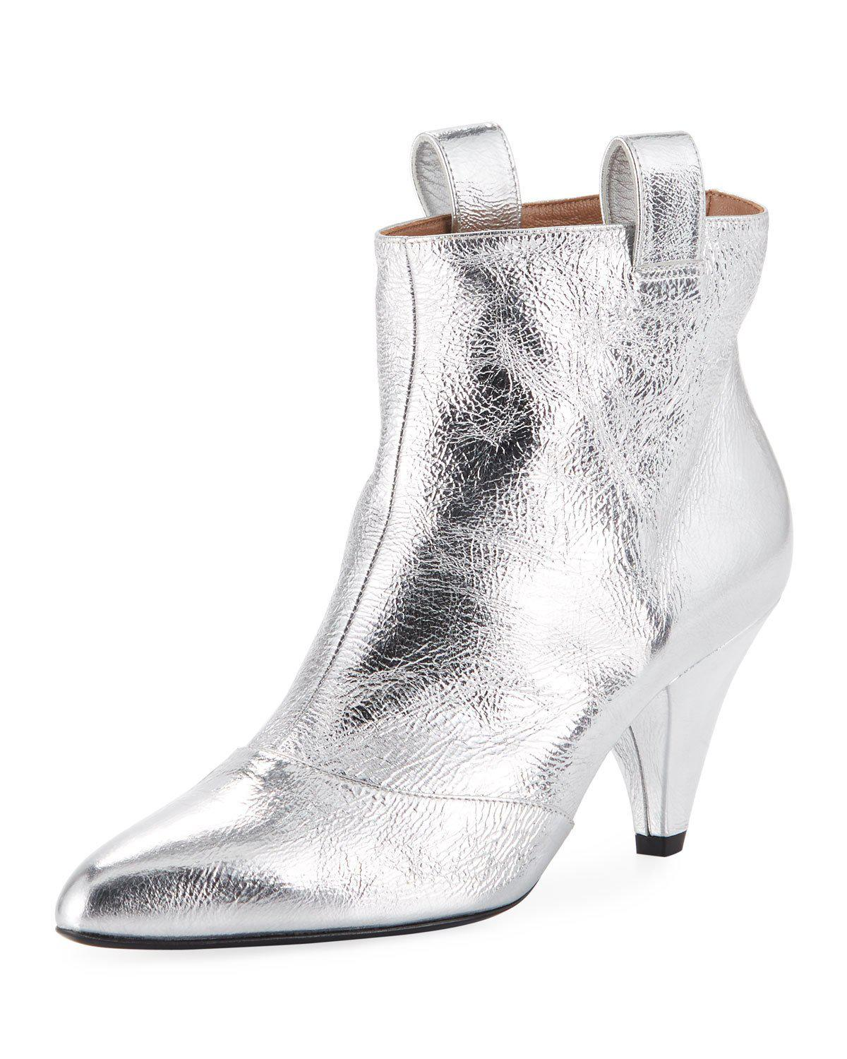 11002317b5c Laurence Dacade Terence 80Mm Metallic Leather Booties In Silver ...