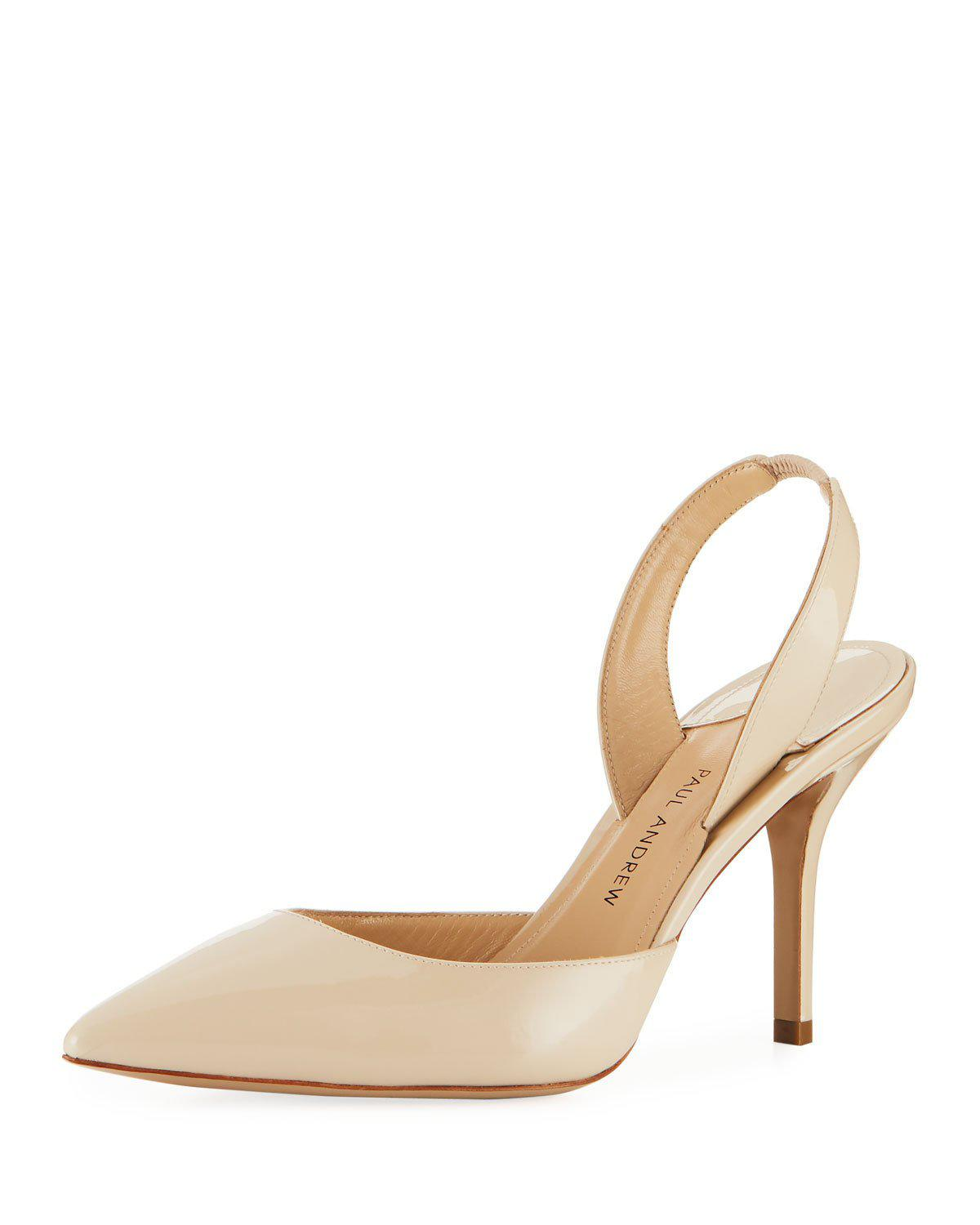 Paul Andrew Mid-Heel Leather Slingback Pumps In Sand