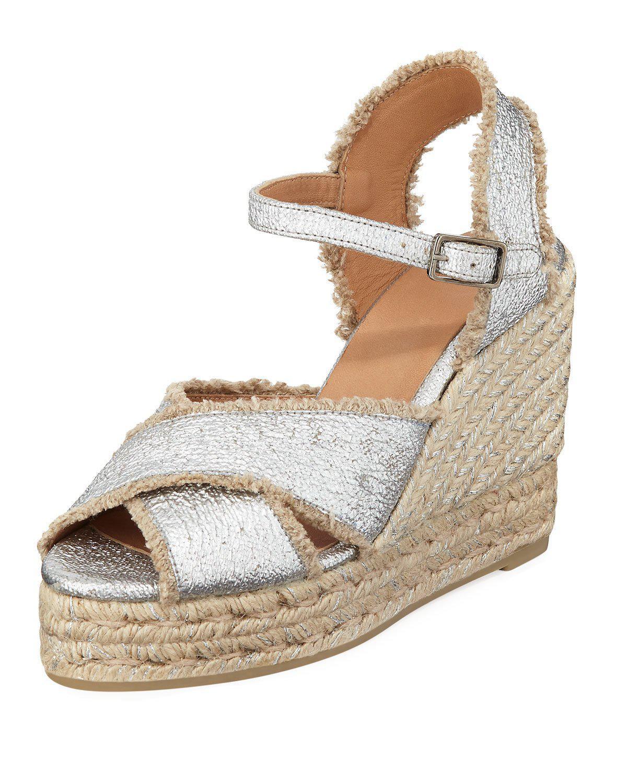 de9d8448da5 CastaÑEr 100Mm Bromelia Wedge Crisscross Espadrille Sandals In Silver