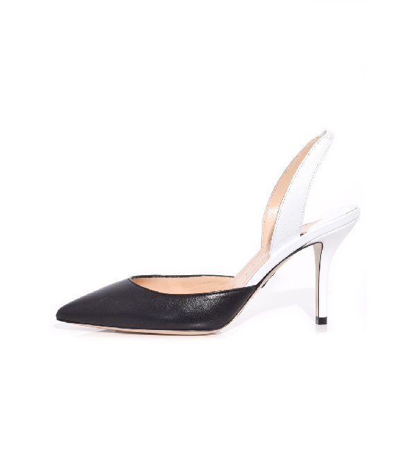 Paul Andrew Colorblock Leather Mid-Heel Slingback Pumps In Black/White