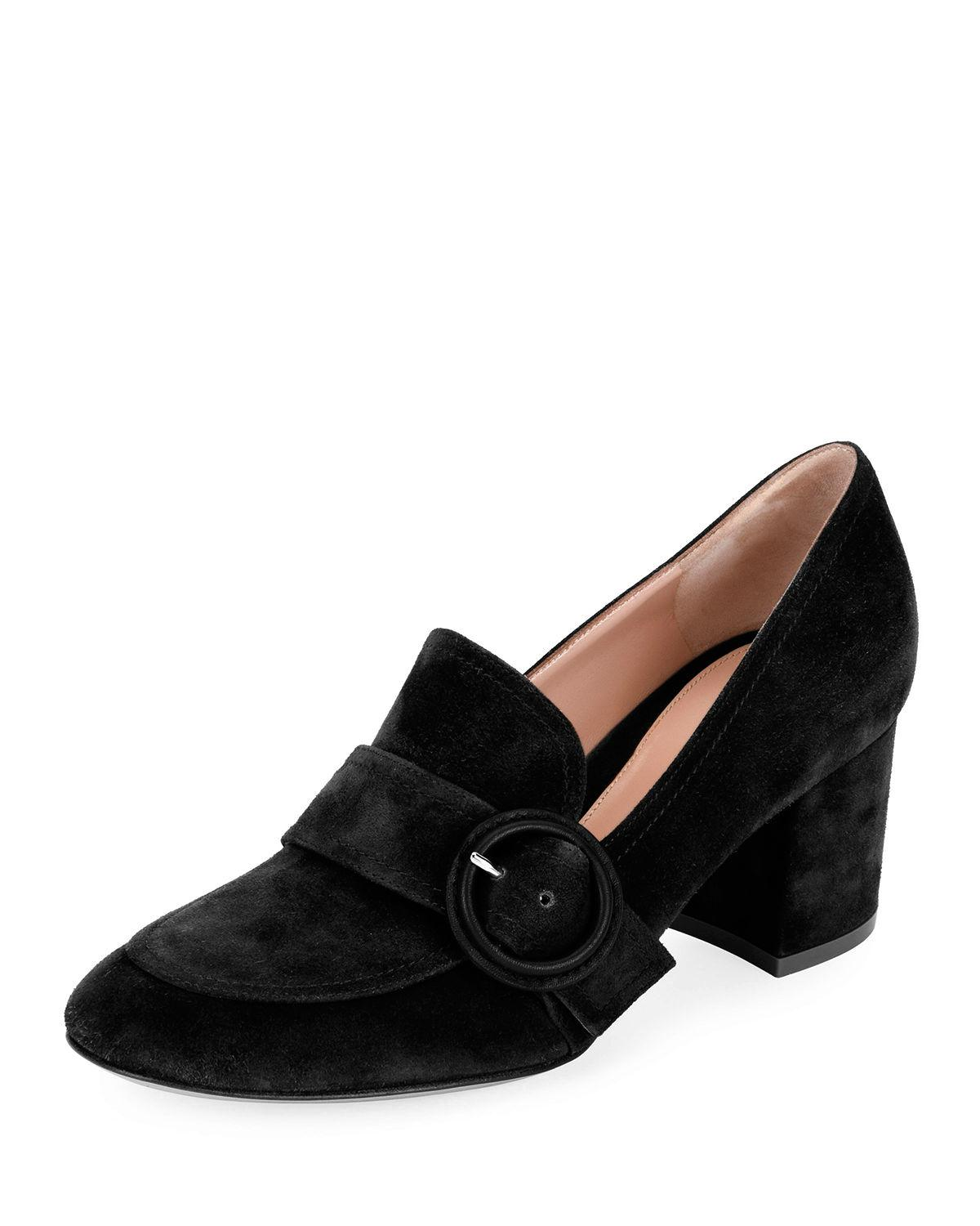 e078d784dae Gianvito Rossi Suede Buckle 60Mm Loafers In Black