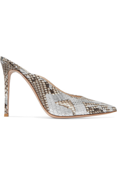 Gianvito Rossi Fanny Python Point-Toe Mules In Silver