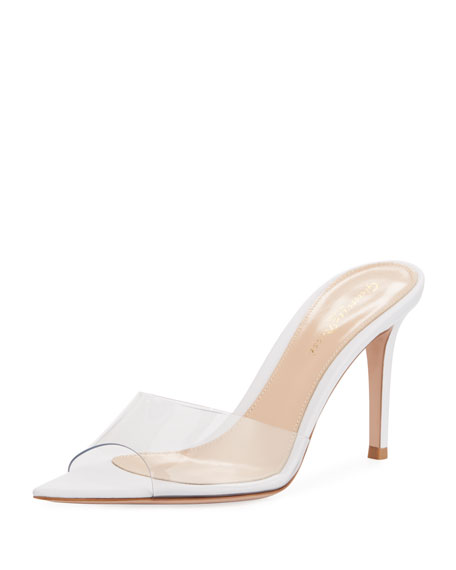 Gianvito Rossi Plexi See-Through Vinyl/Leather Slide Sandals In Gold