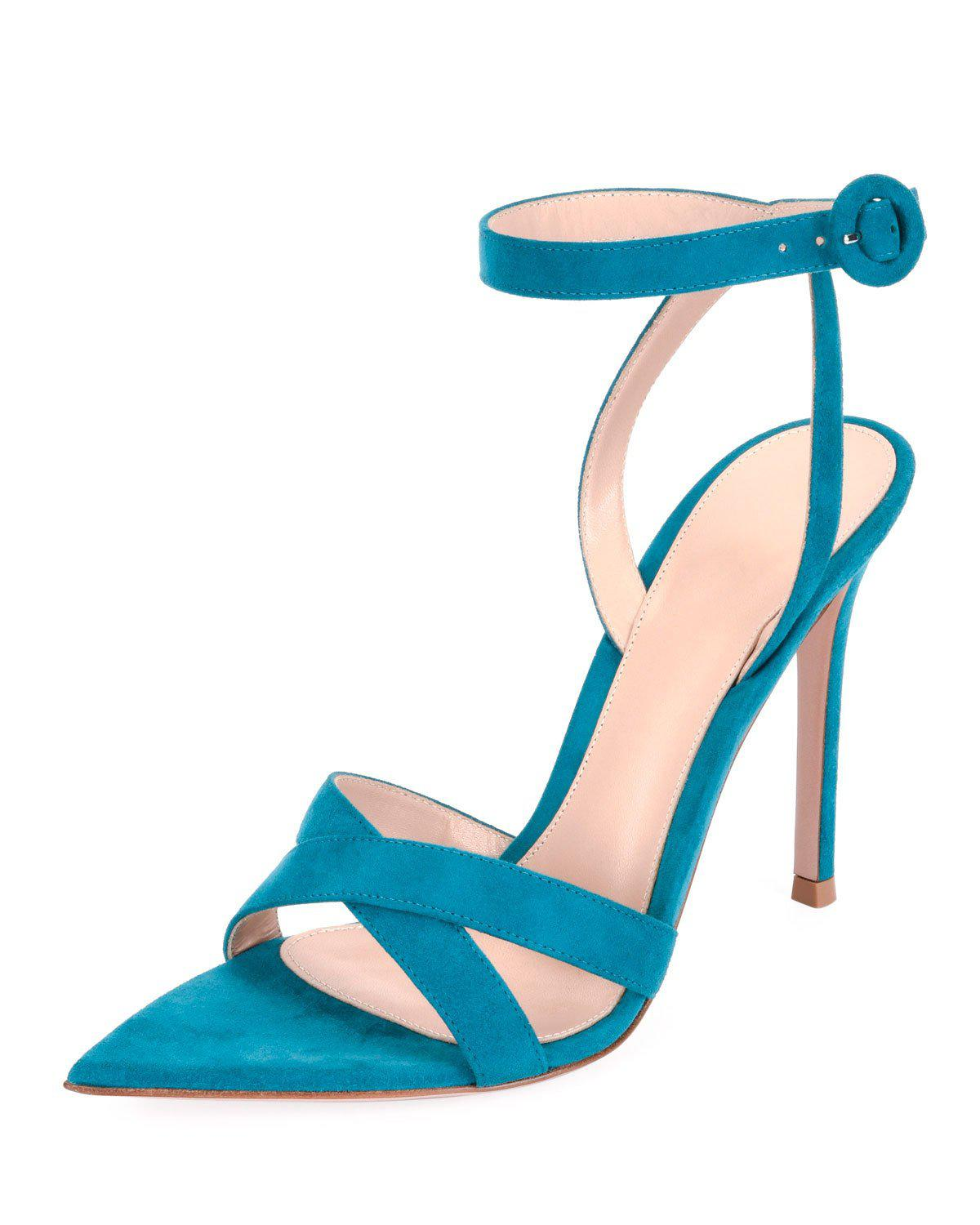 Gianvito Rossi High-Heel Suede Crisscross Ankle-Strap Sandals In Blue