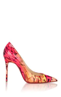 966a2ee567c Pigalle Follies 100Mm Patent Metrograf Red Sole Pumps, Multi Pattern in Pink