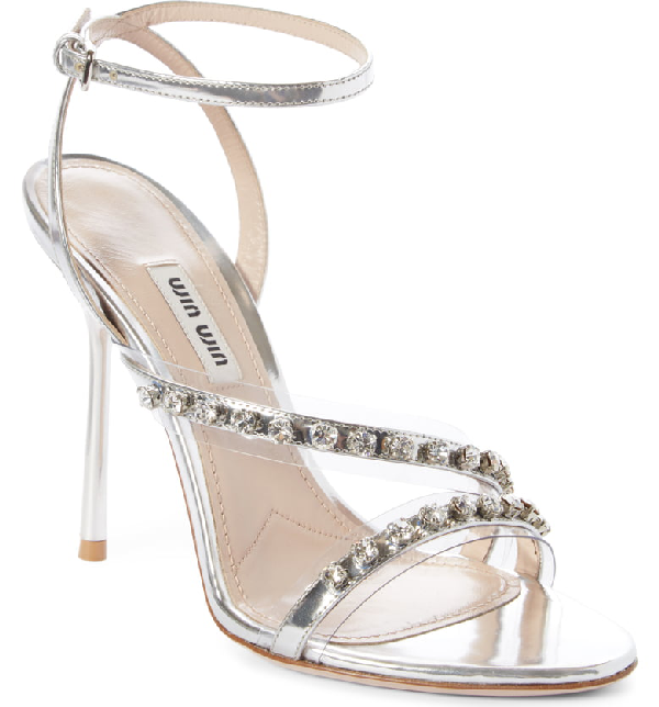 59ad4001e Miu Miu Metallic Jeweled High-Heel Sandals